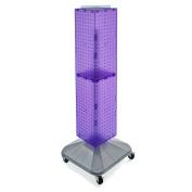 Azar Displays 703388-PUR Standard Four-Sided Interlocking Pegboard Tower, Purple Translucent