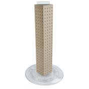 Azar 700222-ALM Pegboard 4-Sided Revolving Counter Display- Almond Solid Colour