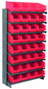 Akro-Mils APRS080 RED Single Sided Pick Rack with 32 30080 Red Shelf Max Bins