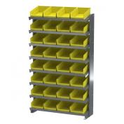 Akro-Mils APRS150Y Single Sided Pick Rack with 32 30150 Yellow Shelf Bins