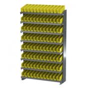 Akro-Mils APRS110Y Single Sided Pick Rack with 96 30110 Yellow Shelf Bins