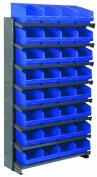 Akro-Mils APRS080 BLUE Single Sided Pick Rack with 32 30080 Blue Shelf Max Bins