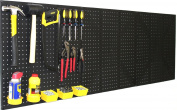 WallPeg (3) Black Plastic Pegboard Panels - 180cm Wide Garage Tool Pegboard - AM 212