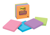 Post-it Super Sticky Notes, 7.6cm x 7.6cm , Electric Glow Collection, 6-Pads/Pack