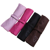 2013newestseller 4 Colours Simple Canvas Roll-up Pencil Wrap Pen Pouch Bag Holder Storage Bag Make up Small Bag 4pcs