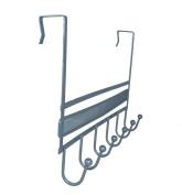 DecoBros Over The Door 6 Hook Organiser Rack - Silver