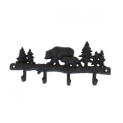 Cast Iron Black Bear Wall Mount Coat Hook