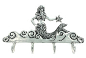 Basic Spirit Handcrafted Mermaid Pewter Hanger for Wall with 4 hooks