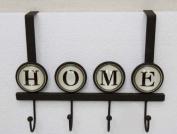 "Home Sweet Home - Over The Door 4 Hook Organiser Rack with ""home"" inscription"