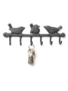 Abbott Cast Iron Triple Bird Wall Hook, Bronze