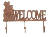 Young's 'Welcome' Cast Iron Triple Wall Hooks, 30cm