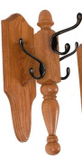 Turned Wall Tree, 3 Hooks Wooden Wall Mounted Coat Rack, Oak Amish New - Choose Your Stain and Hooks