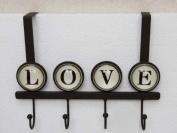 "Hooked on Love - Over The Door 4 Hook Organiser Rack with ""love"" inscription"