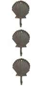 Scallop Shell Wall Hangers Cast Iron Antique Brown - Set of 3 for Coats, Aprons, Hats, Towels, Pot Holders, More
