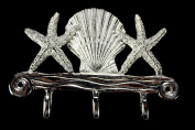 Basic Spirit Handcrafted Sea Star and Scallop Shell Pewter Hanger for Wall with 3 hooks