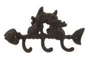 Cast Iron Cat and Fish Wall Plaque with Hooks