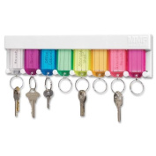 MMF - Key Rack, 25cm - 1.3cm x 1.3cm x 2-1.9cm , White, Sold as 1 Each, MMF 201400847
