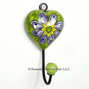 Green Heart Wall Hook, Ceramic Wall Decor, Coat, Key, Jewellery Hook ~H02~Deorative Bath Towel Holder, Robe Hook, Jewellery Hanger