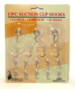 17pk Assorted Size Suction Cup Hooks