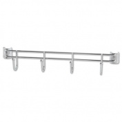 Alera® - Hook Bars For Wire Shelving, 4 Hooks, 46cm Deep, Silver, 2 Bars/Pack - Sold As 1 Pack - Handy hook bars hold garments, bags, utensils and supplies.