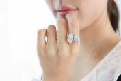 HotEnergy Hot Fashion Lovely Cute Pink Silver Rhinestone Crystal Bowknot Bow Tie Ring