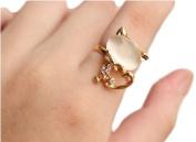 HotEnergy Korean Exquisite Cute Nice Little Cat Rhinestone Stylish Trendy Ring Rings
