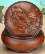 Faux Wood Wolves Jewellery Trinket Box Collectible Decoration Container