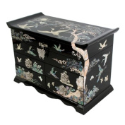 Mother of Pearl Asian Lacquer Wooden Jewellery Trinket Keepsake Treasure Gift Drawer Box with Pine Tree Design and Mulberry Paper