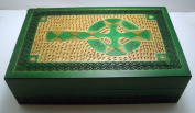 Celtic Cross Irish Green Jewellery Keepsake Box with Brass Inlay