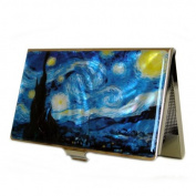 Mother of Pearl Starry Night by Van Gogh Art Painting Design Business Credit Name Card Holder Case Metal Stainless Steel Engraved Slim Purse Pocket Cash Money Wallet
