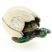 Newborn Turtle And Shell Trinket Box With. Crystal