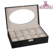 Rowling Black 10slots Pu Leather Watches/jewellery Display Storage Box/case BG-038