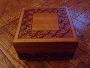 Square Traditional Design Natural Finish Secret Legs Puzzle Box