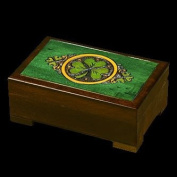 Celtic Shamrock Wood Polish Jewellery Keepsake Box Irish