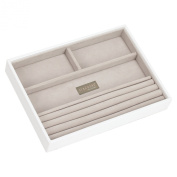STACKERS 'CLASSIC SIZE' White 4 Section STACKER Jewellery Box with Grey Velvet Effect Lining.