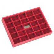 STACKERS 'CLASSIC SIZE' Red 25 section STACKER Jewellery Box with Red Velvet Finish Lining.