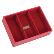 STACKERS 'CLASSIC SIZE' Red Deep 3 section STACKER Jewellery Box with Red Velvet Finish Lining.