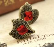 Lingstar(TM) Retro Bronze Red Heart Earrings Vintage Palace Angel Wings A pair