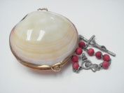 Mother of Pearl Shell Locket Trinket Box Rosary Holder Purse