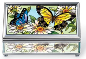 Amia 5689 Medium Rectangular Jewellery Box, Bevelled and Hinged, Butterfly Design, 7.6cm W by 13cm L by 5.1cm H