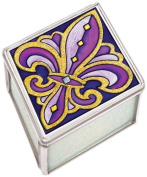 Amia 41099 Petite Fleur-de-Lis Jewellery Box, 2-1/2 by 3.2cm by 7.6cm , Purple and Gold