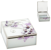 Purple Butterfly Jewellery Trinket Box with White Glass by Haysom Interiors
