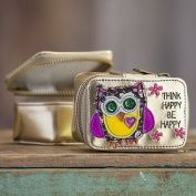 "Trendy Cool Natural Life Vegan Gold Metallic ""Think Happy Be Happy"" Owl Jewellery Travel Size Zippered Bag Case"