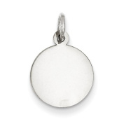 Sterling Silver Engraveable Round Disc Charm, Best Quality. Box Satisfaction Guaranteed