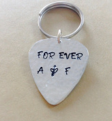 FOR EVER - Guitar Pick Keychain - Handstamped Custom Keychain - Personalised Guitar Pick Keychain - Hand stamped