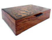 Burl Walnut and Sapele Handcrafted Hardwood Valet Box, 27cm x 18cm