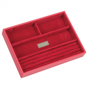 STACKERS 'CLASSIC SIZE' Red 4 Section STACKER Jewellery Box with Red Velvet Finish Lining.