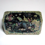 Mother of Pearl Peacock Design Lacquered Black Wooden Asian Handcrafted Secret Jewellery Trinket Keepsake Treasure Box Ring Case Chest Organiser
