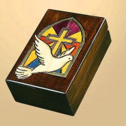 Stained Glass Church Window Cross with Dove Handmade Polish Keepsake Jewellery Box