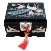 Mother of Pearl Peacock Design Music Wooden Black Bird Girls Jewellery Mirror Case Trinket Keepsake Treasure Gift Musical Asian Lacquer Box Case Chest Organiser